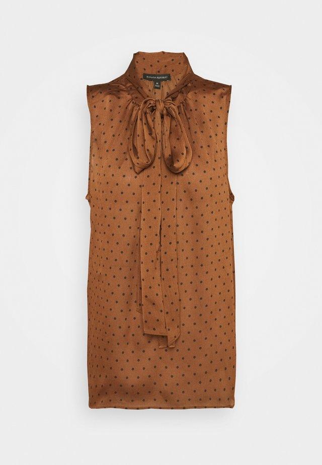 TIE NECK BLOUSE - Toppi - brown warm