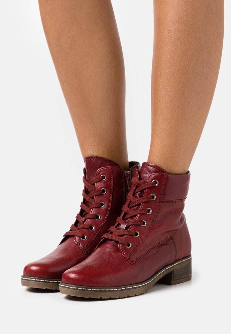 Gabor Comfort - Lace-up ankle boots - dark red