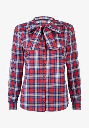 MIT SCHLEIFE - Button-down blouse - rot und naturweiß, kariert