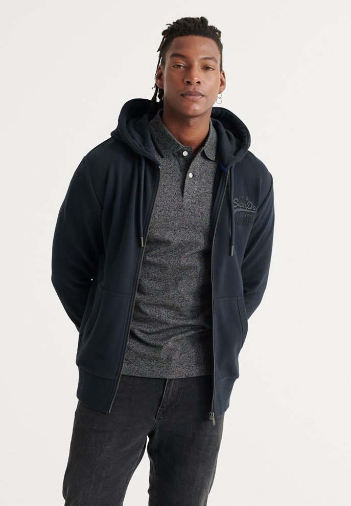 Superdry TONAL LOOPBACK - Sweatjacke - eclipse navy/blau qMwySn