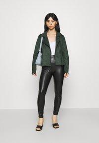 VILA PETITE - VIFADDY JACKET - Faux leather jacket - darkest spruce - 1