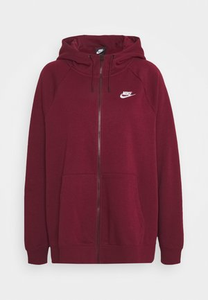 HOODY - Zip-up hoodie - dark beetroot/white