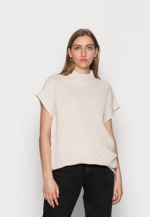LATIFA LONG VEST - Print T-shirt - ecru melange