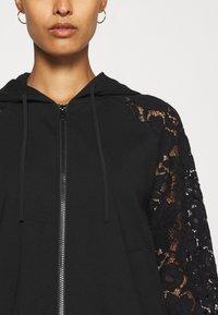 TWINSET - FELPA IN PUNTO MILANO E MACRAME - Zip-up sweatshirt - nero - 5