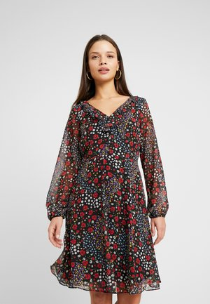 PATCHWORK DITZY DRESS - Day dress - black