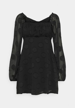 ELASTICATED NECK BARDOT DRESS - Day dress - black