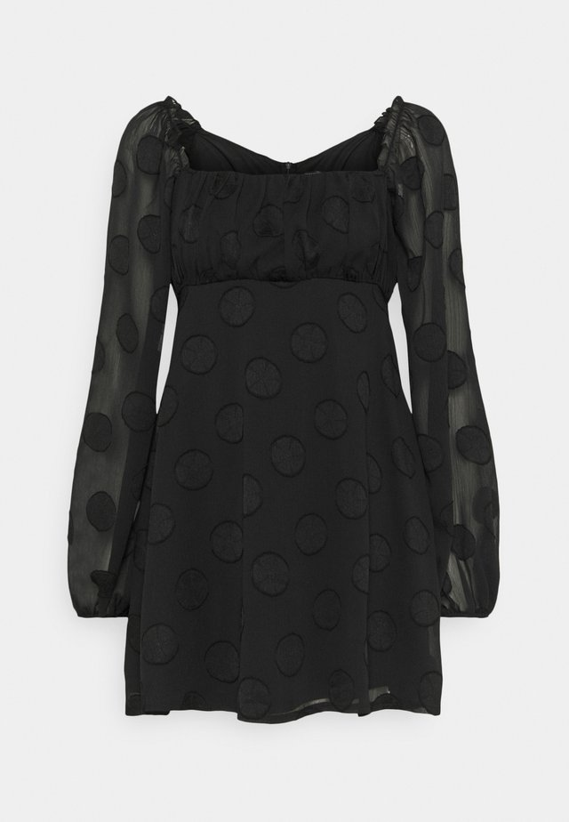 ELASTICATED NECK BARDOT DRESS - Vestito estivo - black