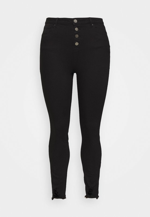 HIGH WAIST BUTTON FLY - Skinny džíny - black
