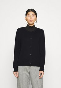 Marc O'Polo - CARDIGAN LONGSLEEVE BUTTON CLOSURE SADDLE SHOULDER - Cardigan - black - 0