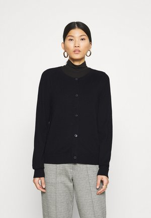 CARDIGAN LONGSLEEVE BUTTON CLOSURE SADDLE SHOULDER - Cardigan - black