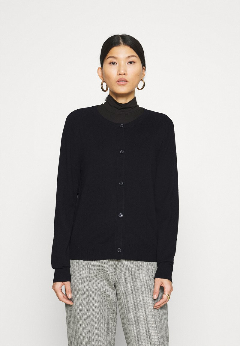 Marc O'Polo - CARDIGAN LONGSLEEVE BUTTON CLOSURE SADDLE SHOULDER - Cardigan - black