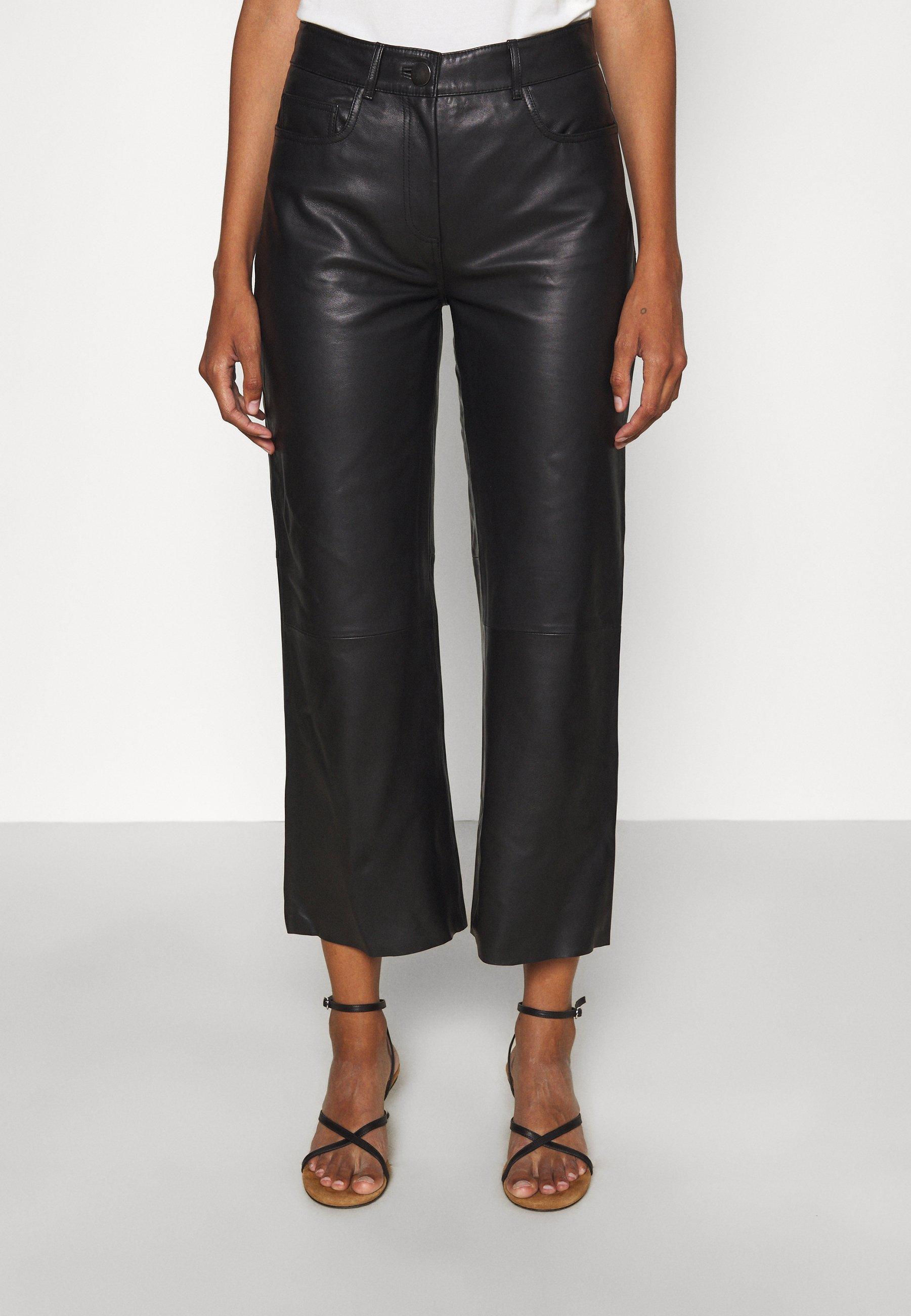 Women SHEENA WIDE LEG POCKETS  - Leather trousers