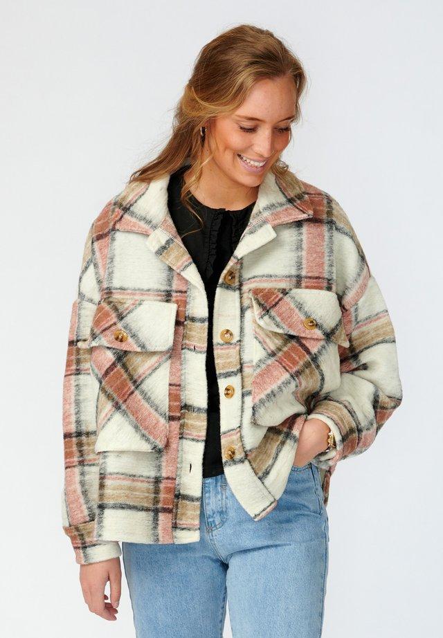 Summer jacket - offwhite rose camel checks