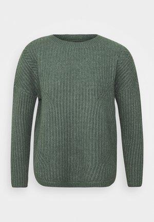 ONLBERNICE ROUND - Strikkegenser - balsam green/white melange