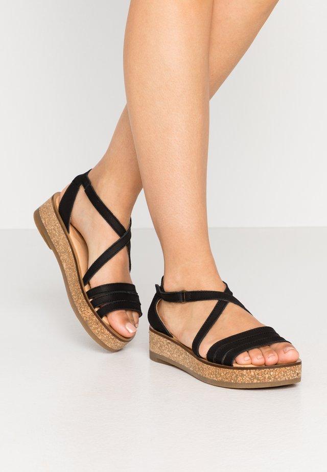 TÜLBEND - Korkeakorkoiset sandaalit - black