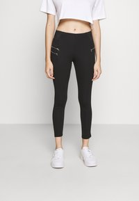 New Look Petite - BIKER ZIP - Leggings - black - 0