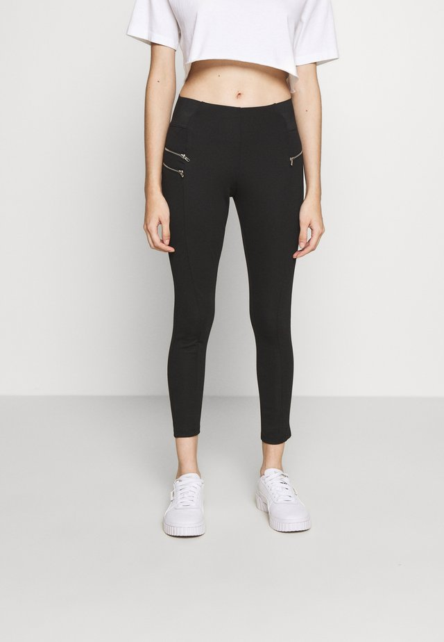 BIKER ZIP - Leggings - black