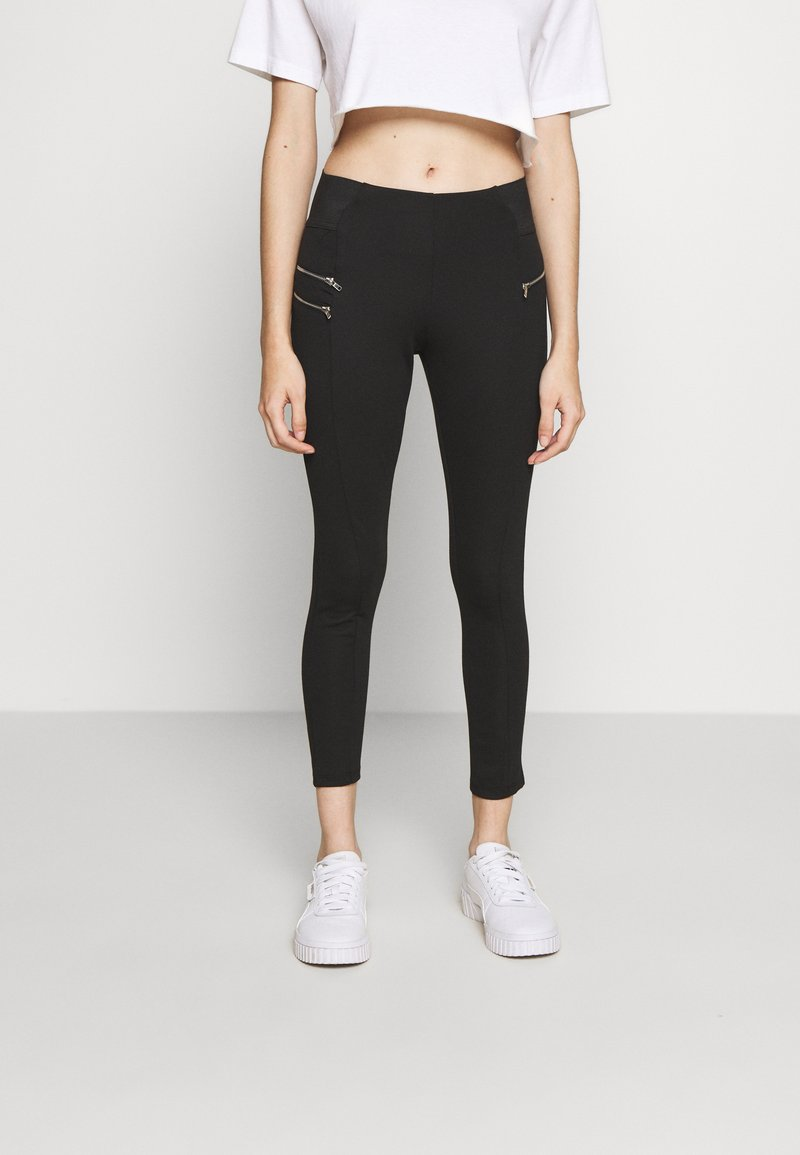 New Look Petite - BIKER ZIP - Leggings - black
