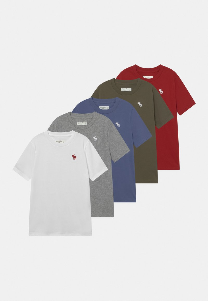 Abercrombie & Fitch - CREW 5 PACK - Basic T-shirt - grey/red/white/green/blue