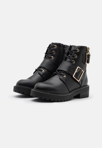 New Look - BUSY LACE UP CHUNKY - Cowboystøvletter - black - 2