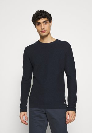 WAFFLE OPTIC TUCK STITCH CREW - Strikkegenser - dark blue melange