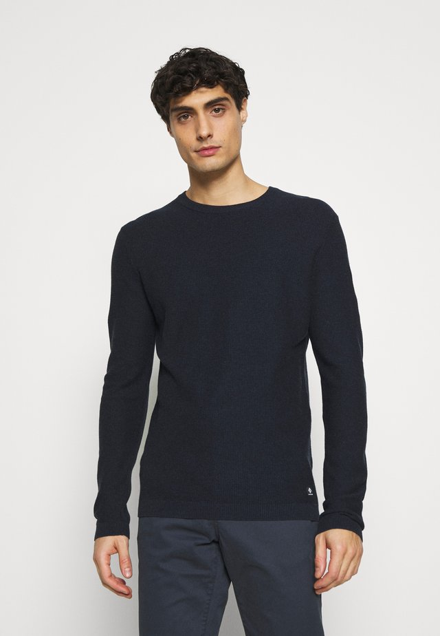 WAFFLE OPTIC TUCK STITCH CREW - Jumper - dark blue melange