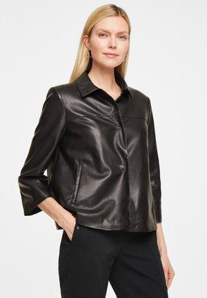 MIT TROMPETENÄRMEL - Faux leather jacket - black