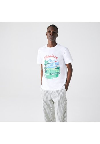 T-shirt print - blanc rouge