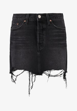 DECONSTRUCTED SKIRT - Falda vaquera - black denim