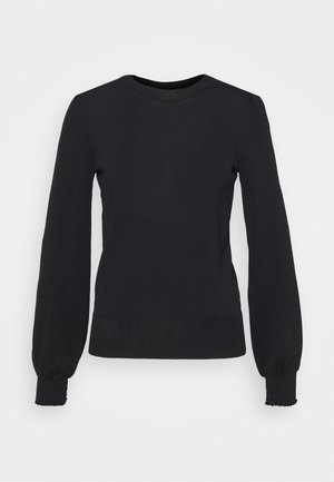 BLACK PUFF SLEEVE CREW NECK - Trui - black