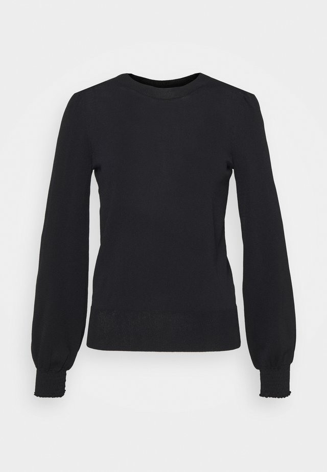 BLACK PUFF SLEEVE CREW NECK - Pullover - black