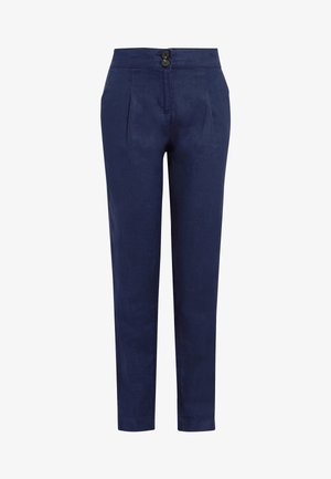 WHITE 100% LINEN TAPER TROUSERS - Trousers - blue