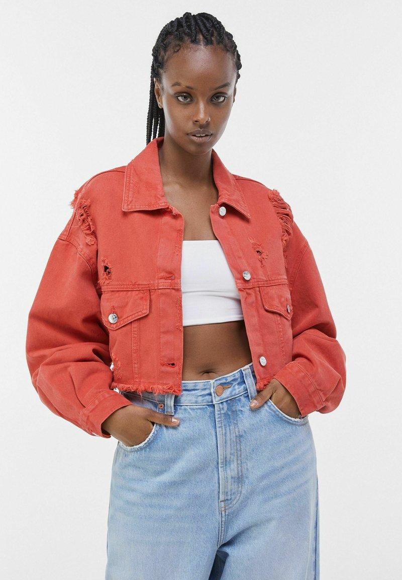 Bershka - Denim jacket - red