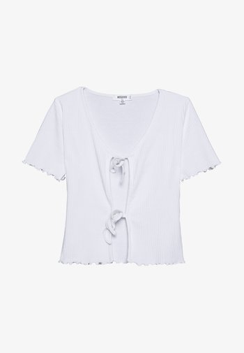TIE FRONT CROP - T-shirts med print - white