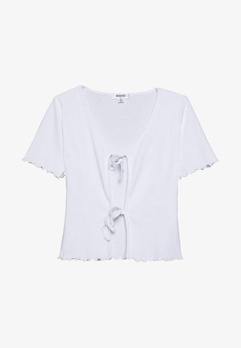 Missguided Tall - TIE FRONT CROP - Camiseta básica - white