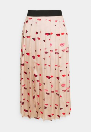 PLEATED LIPS PRINT SKIRT - Pencil skirt - almond beige