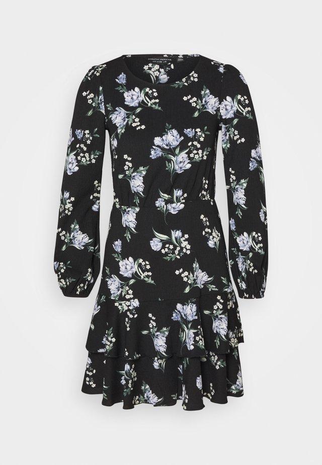 TIERED SKIRT MINI FLORAL - Robe en jersey - black