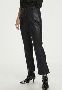 Denim Hunter - HUNTER DHTWIGGY  - Leather trousers - black - 0