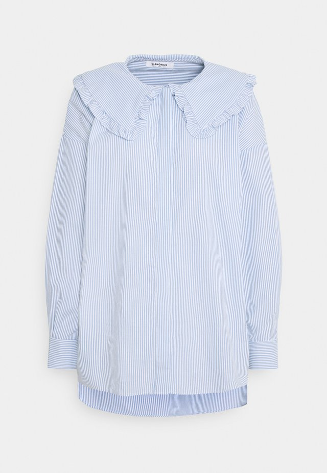 SHIRT WITH RUFFLE COLLAR - Blouse - blue