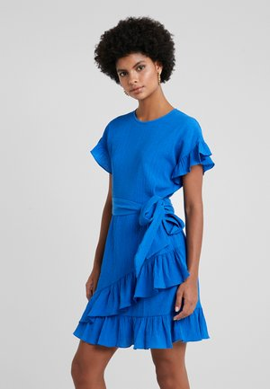 RUFFLE WRAP DRESS - Day dress - grecian blue