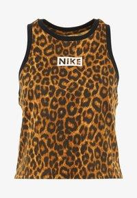 Nike Performance - DRY TANK LEOPARD CROP - Funktionsshirt - club gold/british tan/black/white - 4