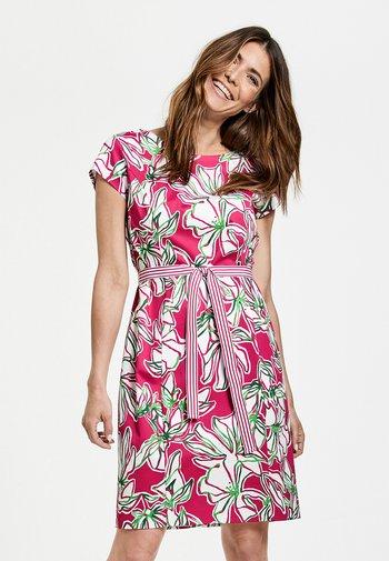 Day dress - azalea weiß palm druck