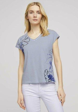 Print T-shirt - offwhite blue stripe
