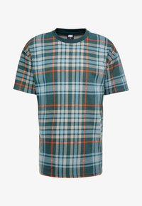 Urban Classics - CHECK OVERSIZED HEAVY TEE - Print T-shirt - bottlegreen - 4