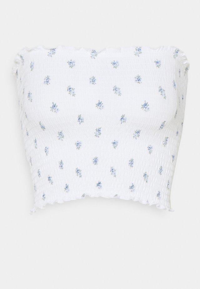 SMOCKED TIE BACK TUBE - Top - white