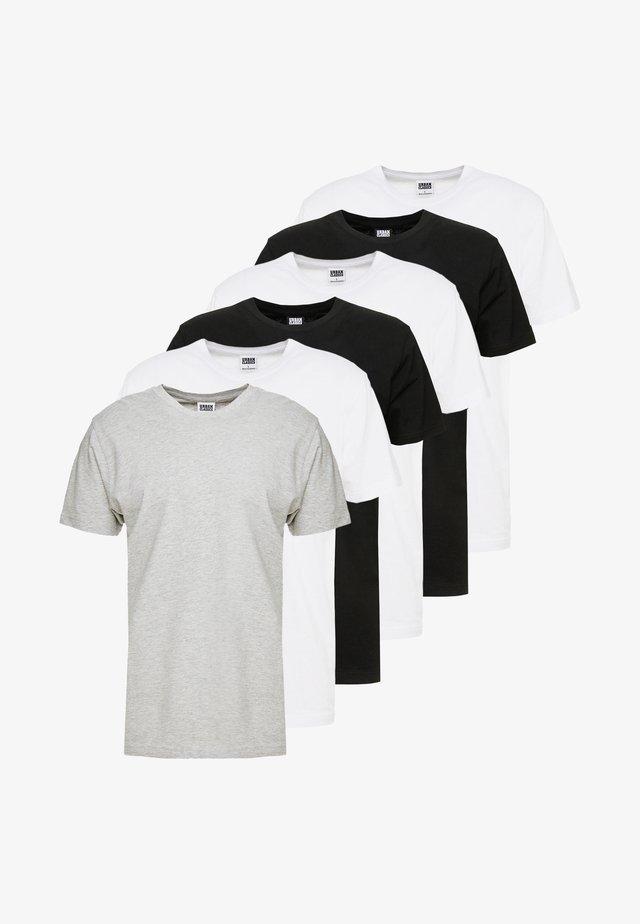 BASIC TEE 6 PACK - T-shirt basic - white/black/grey