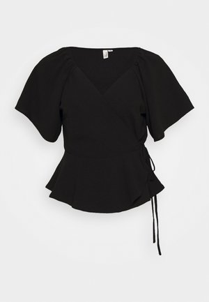 ROMANTIC WRAP BLOUSE - Blouse - black