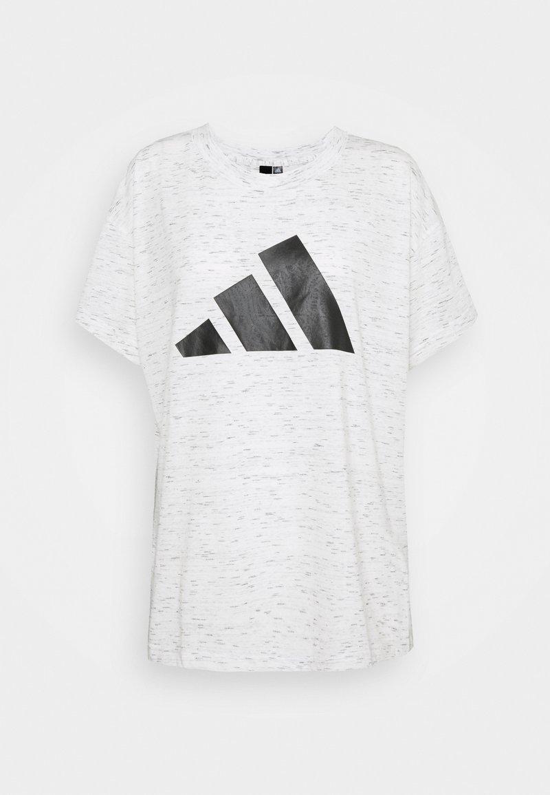 adidas Performance - WIN TEE - T-shirt print - white melange