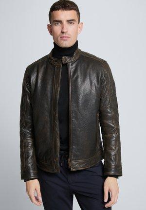 S.C. OSCO - Leather jacket - schwarz-braun