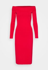 Victoria Beckham - COMPACT SHINE BARDOT FITTED DRESS - Pouzdrové šaty - red - 5